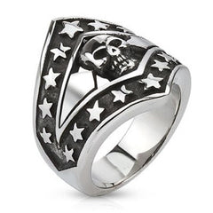 Star Spangled Skull - Black oxidized silver stainless steel patriotic stars skull men's ring
