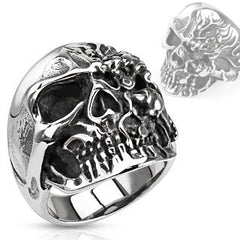 Diabolical – FINAL SALE Two faced melted skull black oxidized stainless steel men's ring