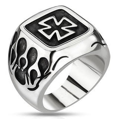 Iron Flames - FINAL SALE Oxidized stainless steel iron cross signet ring with flame details