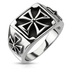 Triple Iron Cross - Three iron cross black oxidized stainless steel men's signet ring