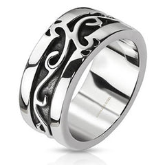 Honorable – Black oxidized polished silver stainless steel vine design ring