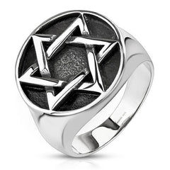 Star of David - Star of David medallion stainless steel men's signet ring