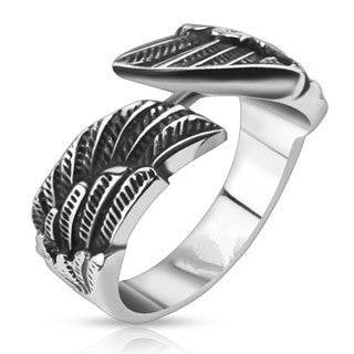 Fly - Wraparound double wings black oxidized stainless steel unisex ring