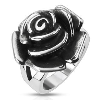 Steel Rose - Rose Design Cast Stunning Stainless Steel Comfort-Fit Ring