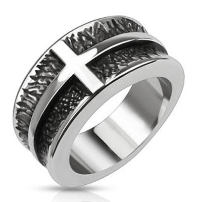 Heavy Cross - Black oxidized stainless steel cross concave band his and hers ring
