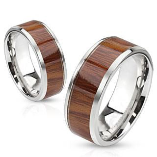 Rosewood Manor - Rose wood grain inlaid stainless steel band