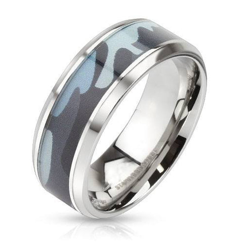 Camo Ammo - Blue camouflage inlaid beveled edge stainless steel ring