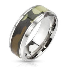 Camo Connection - Camouflage inlaid beveled edge stainless steel ring
