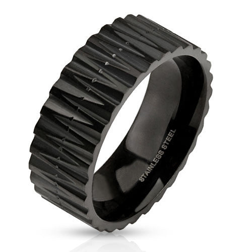 Primal- Zig zag cut carved matte black IP stainless steel men's ring Size-7