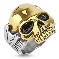 Guardian - Two tone gold IP and silver stainless steel half skull with wings men's ring
