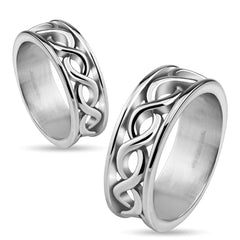 Time After Time – Infinity symbol wraparound polished stainless steel ring