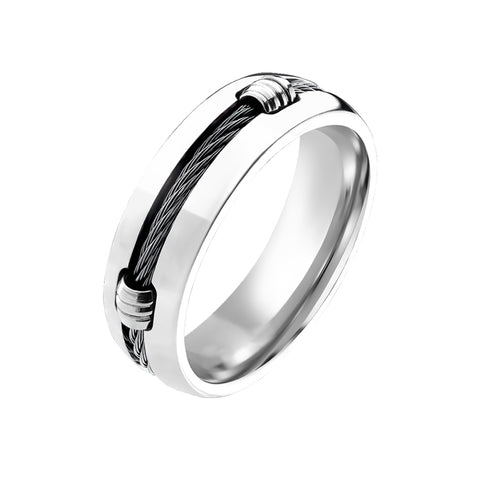 Titanium Onyx - Solid Woven Cord Coiled Around The Center Highly Polished Titanium Ring
