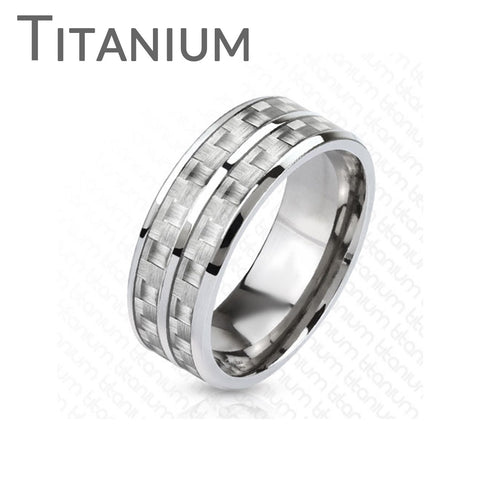 Dual White Carbon Core - FINAL SALE Men's Solid Titanium Ring With White Carbon Fiber Inlay