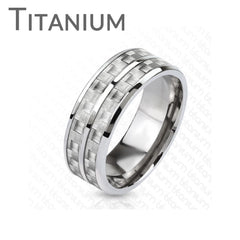 Dual White Carbon Core - Men's Solid Titanium Ring With White Carbon Fiber Inlay