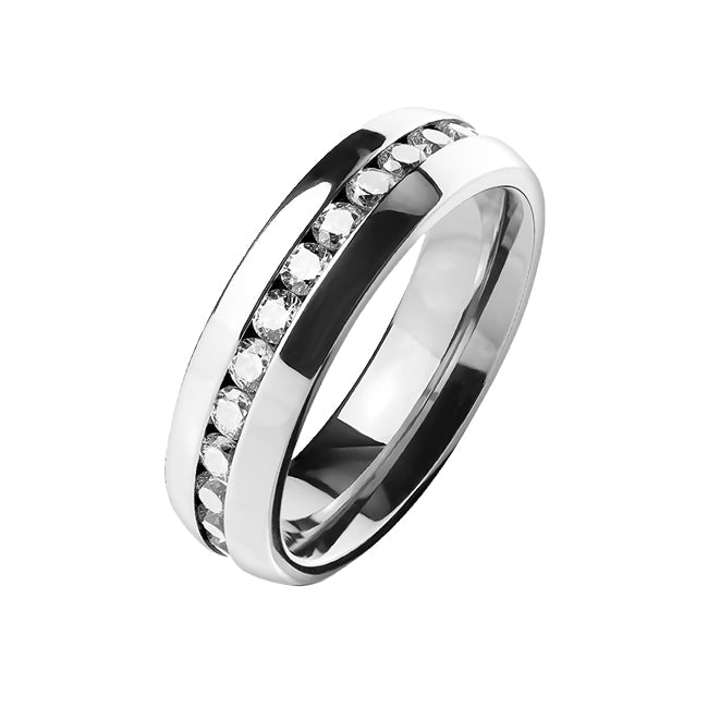 Full Eternity In Titanium - Domed CZ Eternity Titanium Ring