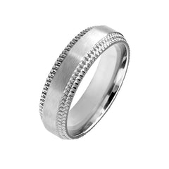 Titanium Bond - Unisex Brushed Titanium Ring With Chiseled Step Edge Detail