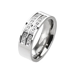 Silver Lining - Men's Double Centered CZ Titanium Ring