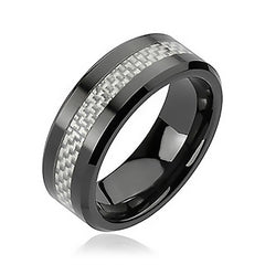 Black Tie Affair - High Temperature Fired Silver and Black Ceramic Comfort Fit Band