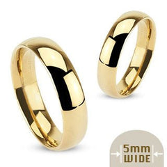 Devotion - FINAL SALE Stainless Steel Gold Ion-Plated 5mm Wide Polished Traditional Wedding Band Ring