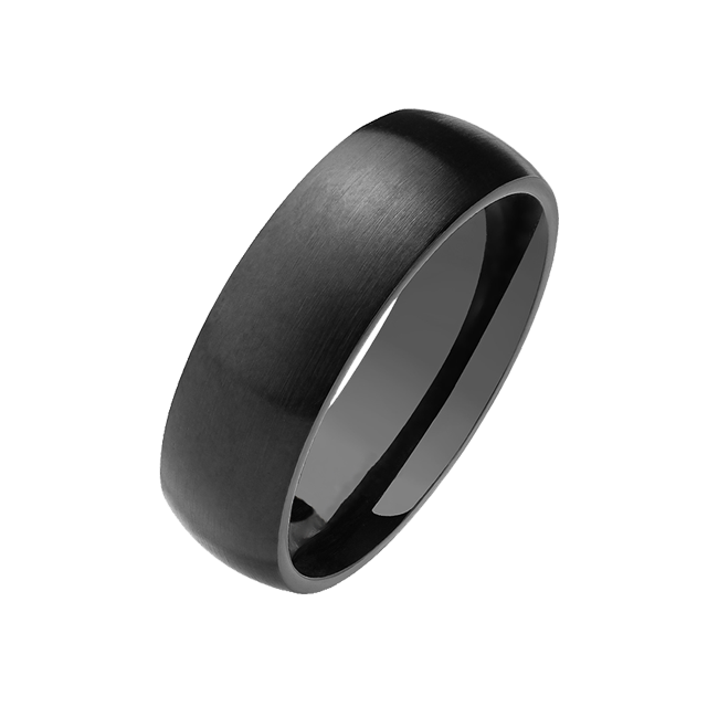Into the Night - Black PVD Stainless Steel Ring with Polished Sides and Matte Finish