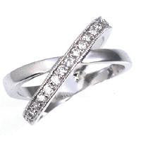 Crossover Sparkle - Rhodium Plated Crossed Eternity Bands with Clear CZ Stones