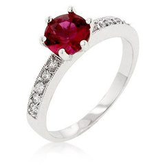 Garnet Queen - Rhodium Plated Brass Engagement Ring With Round Cut Garnet Colored Stone