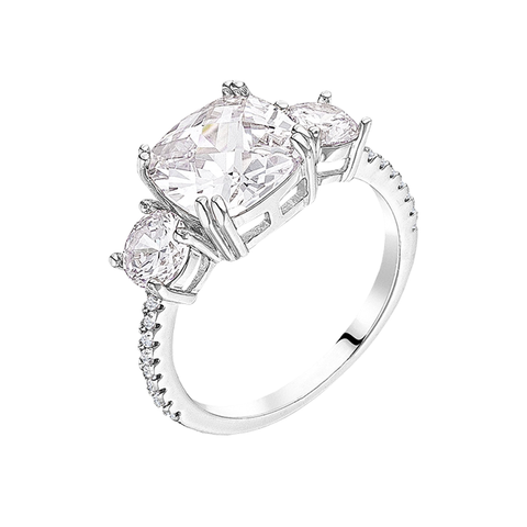 A Royal Romance - Women's 2.75ct Cushion Cut Rhodium Plated Ring Modeled After Meghan Markle's Ring
