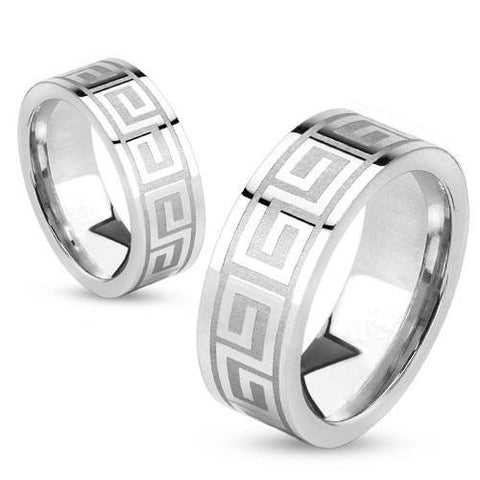 Steel Union – Strong Design and Stainless Steel Greek Key Eternity Maze Etched Couples Ring