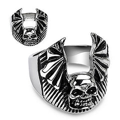 Bat Winged Death Angel - Impressively Crafted Silver and Black Stainless Steel Ring