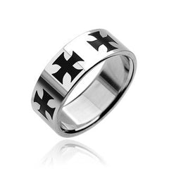 Crucifixo - FINAL SALE Celtic Revival Design Stainless Steel and Black Center Crosses Ring