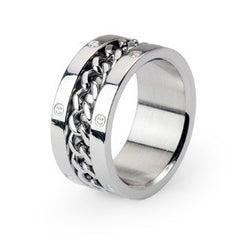 Steel Wheel - Modern Industrial Design Chained Around The Center Stainless Steel Ring