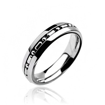 Hyperlinked - FINAL SALE Embedded linked center design polished silver stainless steel couples band