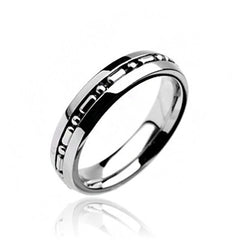 Hyperlinked - Embedded linked center design polished silver stainless steel couples band
