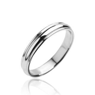 Simple Perfection - Polished grooved silver stainless steel his and hers ring
