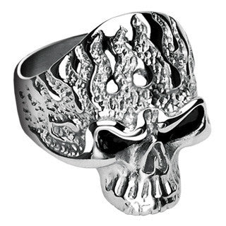 Ghost Rider - FINAL SALE Limited Availability, Movie Inspired Dangerous Looking Black and Stainless Steel ComfortFit Ring