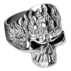 Ghost Rider - Limited Availability, Movie Inspired Dangerous Looking Black and Stainless Steel ComfortFit Ring