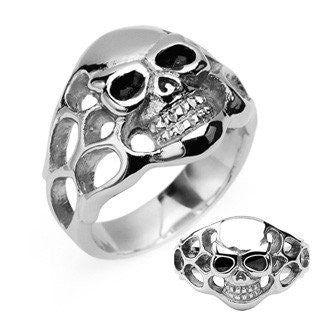 Skullfire - FINAL SALE Classic Biker-Style Stainless Steel Skull with Side Flames Silver and Black Ring