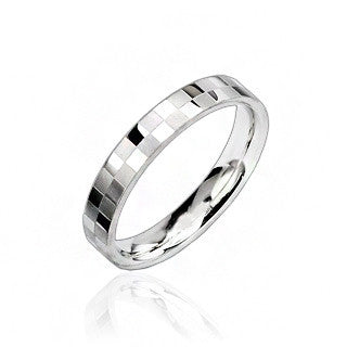 Mirror Ball - Polished silver stainless steel square checkerboard ring