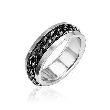 Optimum Black - FINAL SALE Solid Chain Of Black Twisted Steel Stainless Steel Chained Ring