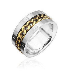 Golden Wired - Gold Colored Spinning Center Chain Stainless Steel Comfort Fit Band