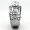 Radiance - Women's High Polished Stainless Steel Ring with AAA Grade Clear CZ Stones