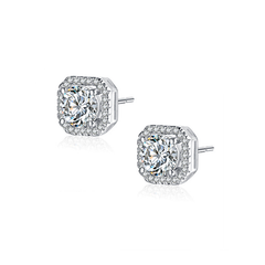 Radiant Halo Earrings - Women's Rhodium Plated Brass CZ Stud Earrings