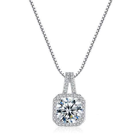 Radiant Halo Pendant Necklace - Women's Rhodium Plated Brass and CZ Pendant Necklace