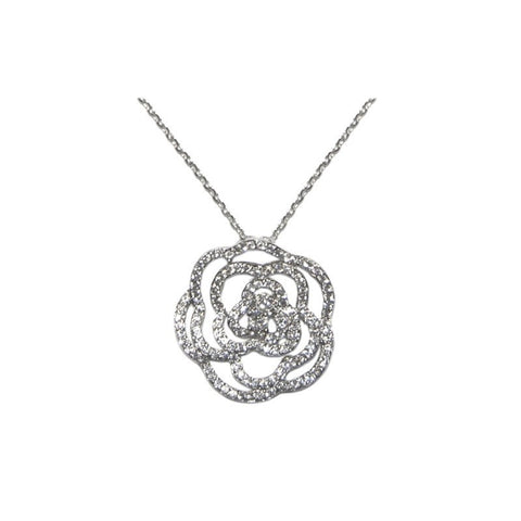 Radiant Rose - Clear CZ Rose Pendant