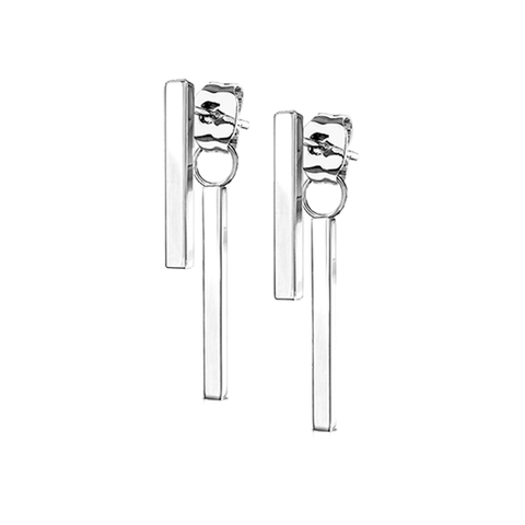 Raise The Bar In Silver - Classic Stainless Steel IP Bar Earrings