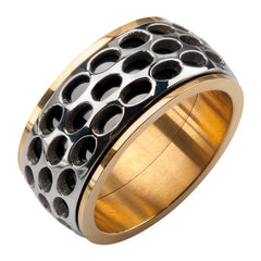 Rally Gold Ring - Stainless Steel IP Black and Gold Grille Polished Spinner Band
