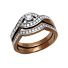 Reina - An Irresistable Chocolate IP Stainless Steel AAA Grade Clear CZ Wedding Set