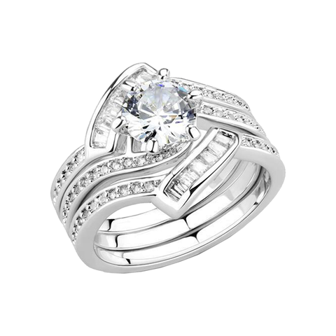 Renée - Women's Art Deco Stacking AAA Grade Clear CZ Rhodium Plated Brass Ring Set