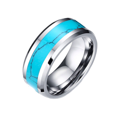 Rio Grande 8mm - Inlay Turquoise Center Band and Tungsten Carbide Comfort Fit Ring