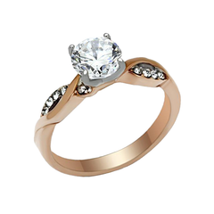 Romance - Women's Rose Gold Ion Plated Stainless Steel Ring with AAA Grade CZ Clear Stones